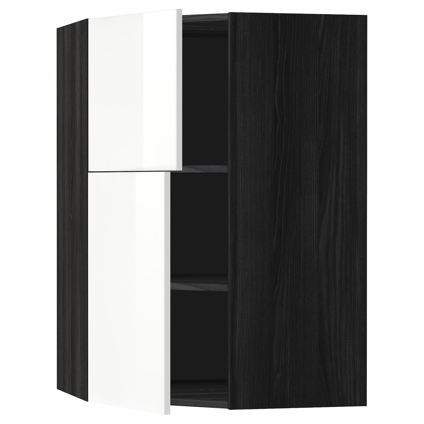 metod corner wall cab w shelves 2 doors black ringhult. Black Bedroom Furniture Sets. Home Design Ideas