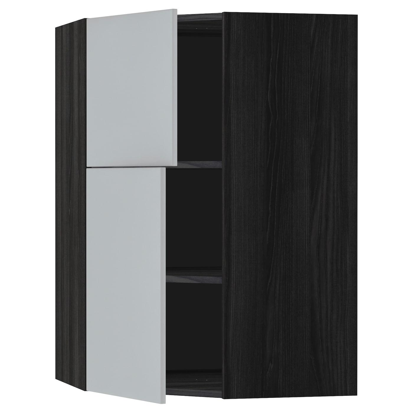 Metod Corner Wall Cab W Shelves 2 Doors Black Veddinge