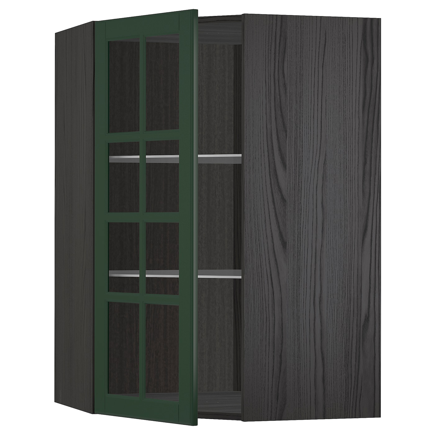 METOD black, Bodbyn dark green, Corner wall cab w shelves ...