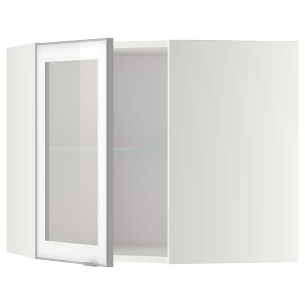 METOD Corner wall cab w shelves/glass dr, white/Jutis frosted glass, 68x60 cm