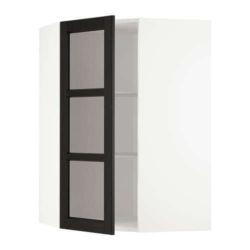 METOD Corner Wall Cab W Shelves/glass Dr White/lerhyttan