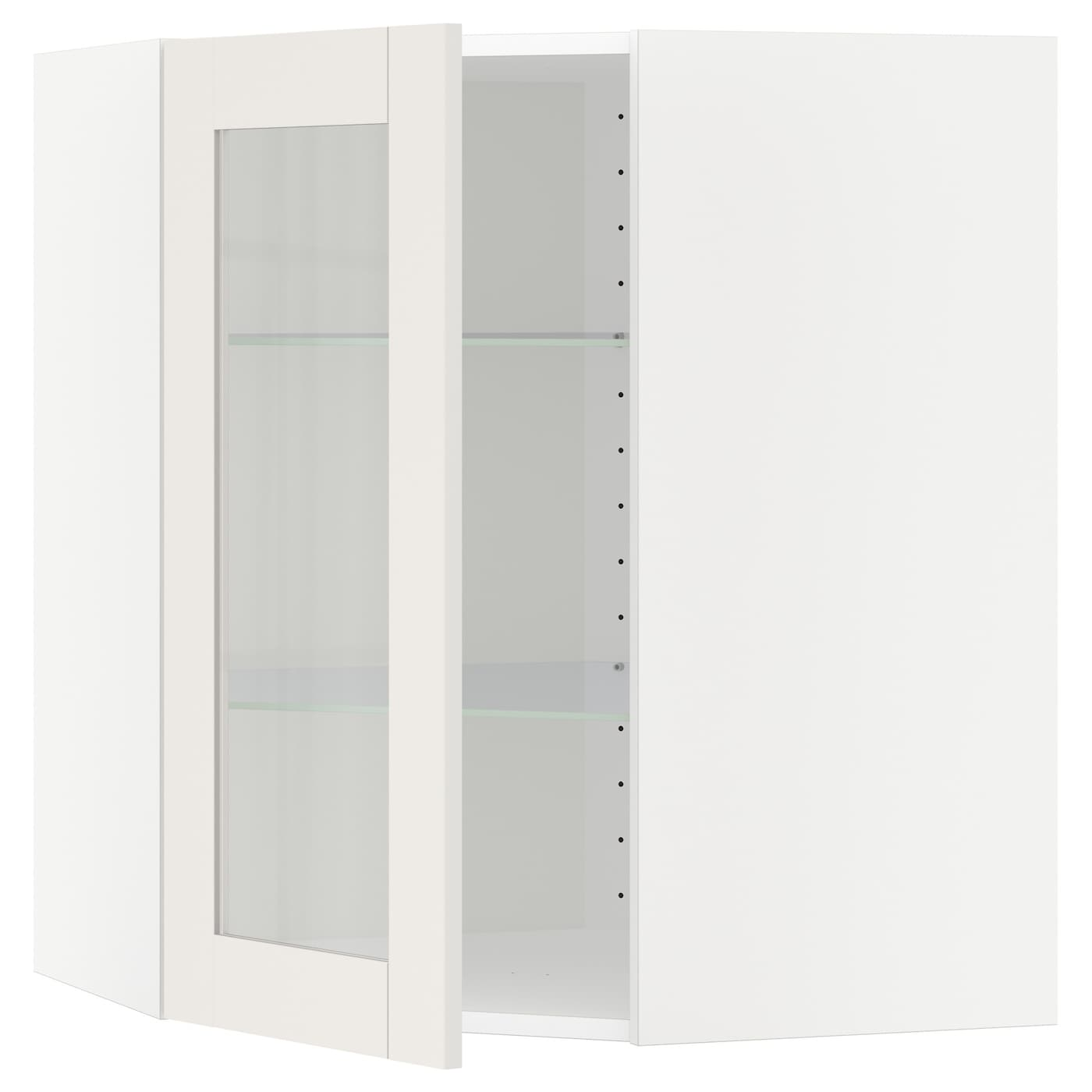 IKEA METOD corner wall cab w shelves/glass dr Sturdy frame construction, 18 mm thick.