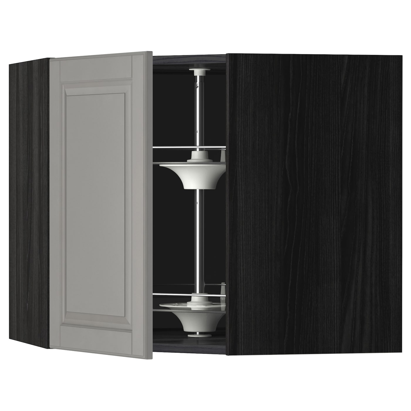 Metod corner wall cabinet with carousel black bodbyn grey for Black corner bathroom cabinet