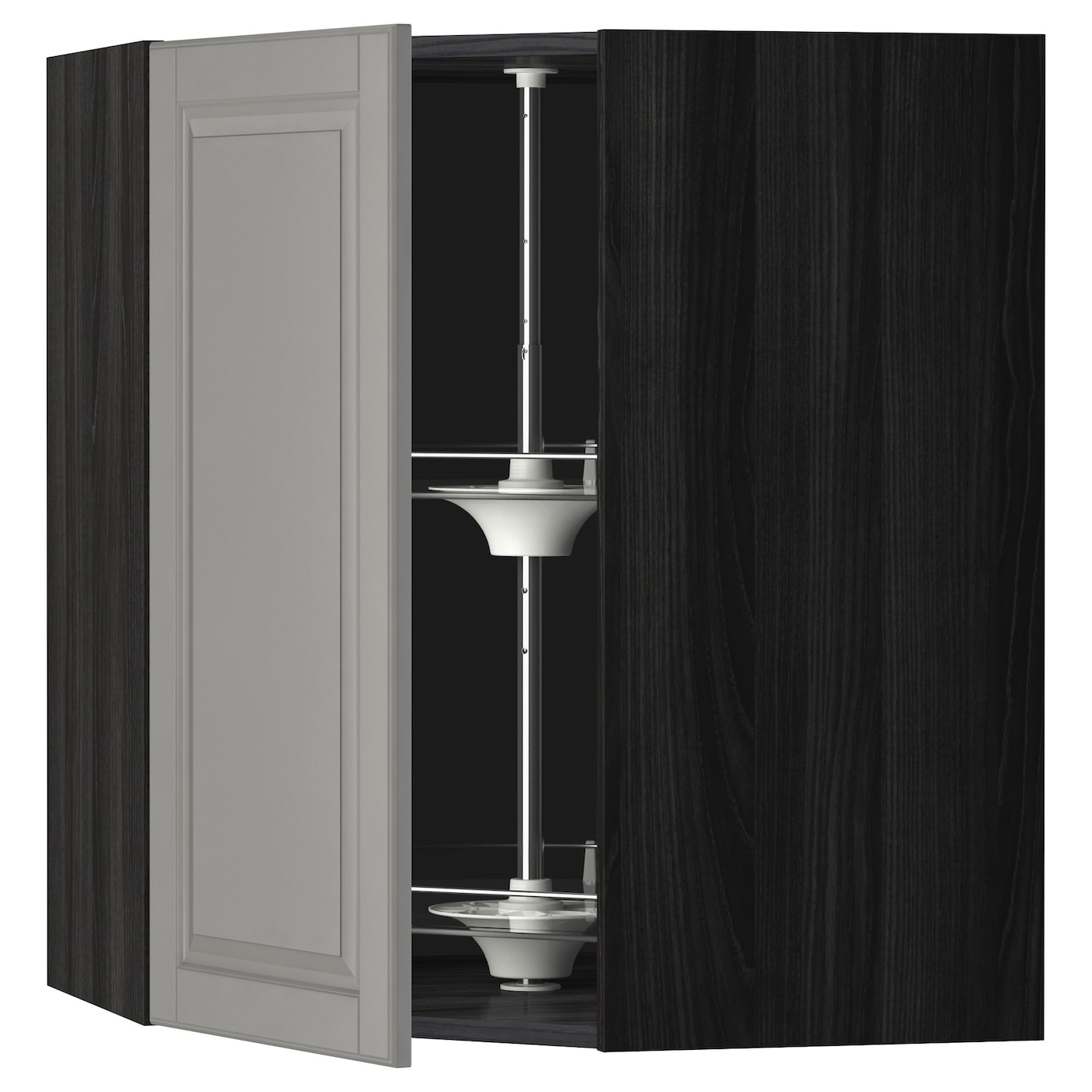 Ikea Kitchen Cabinet Construction: METOD Corner Wall Cabinet With Carousel Black/bodbyn Grey