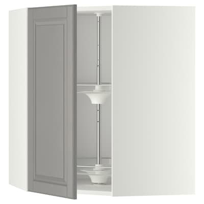 METOD Corner wall cabinet with carousel, white/Bodbyn grey, 68x80 cm