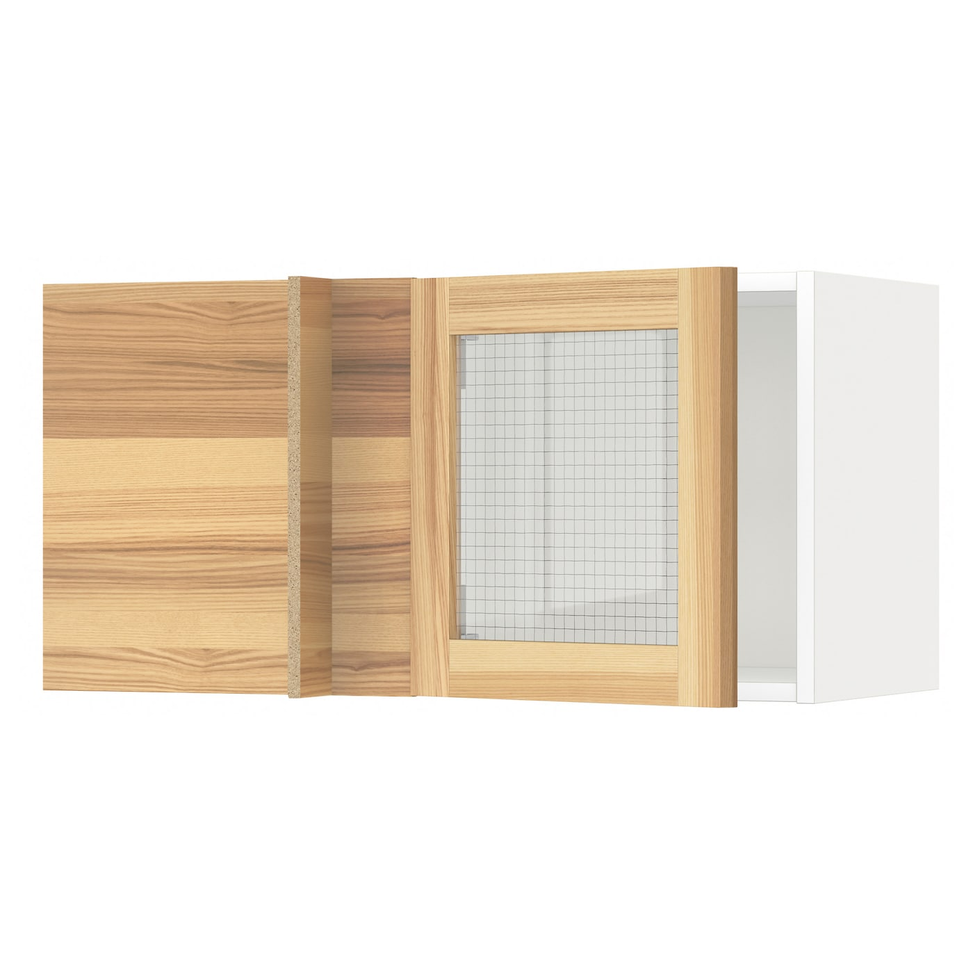 Metod corner wall cabinet with glass door white torhamn for Ikea glass door wall cabinet