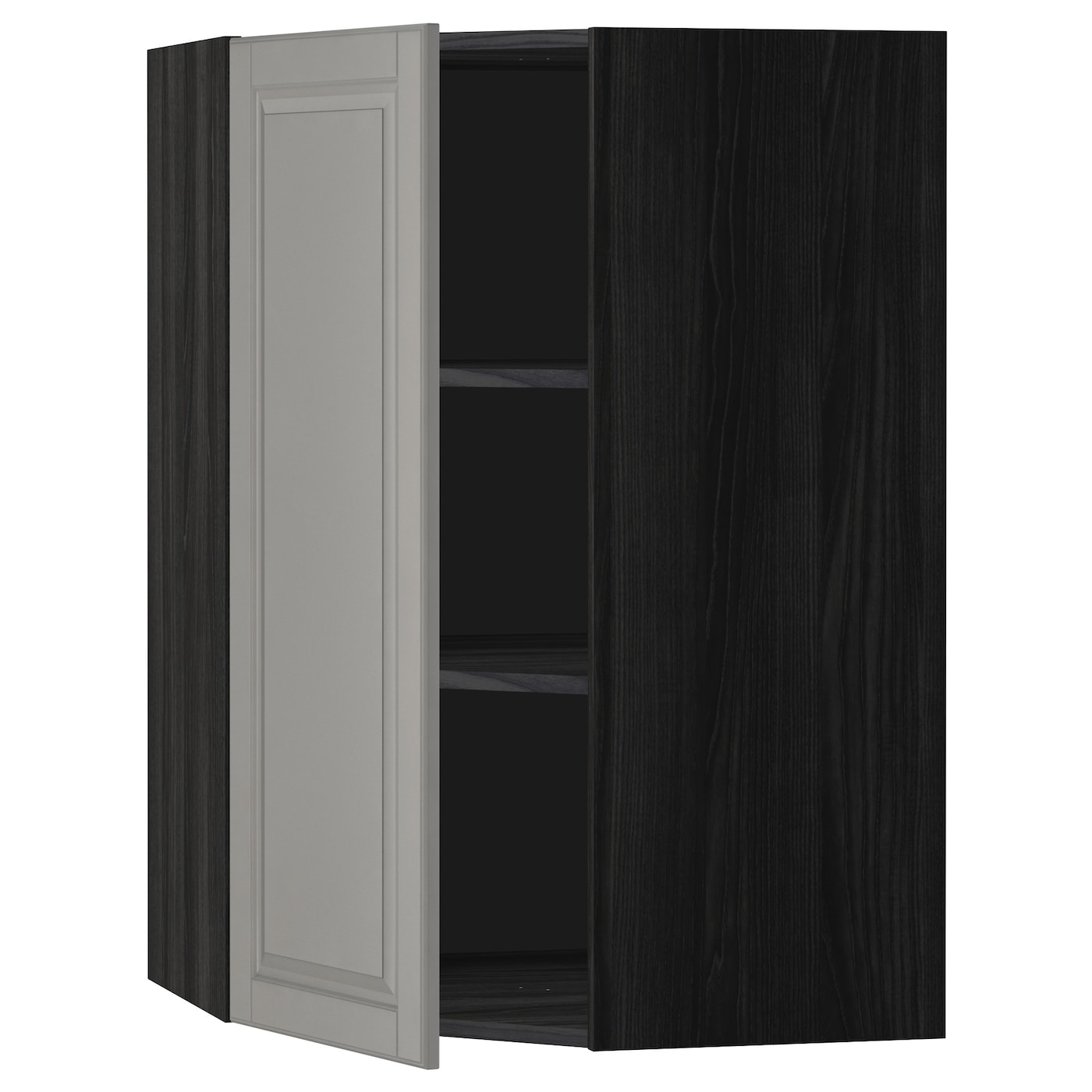 METOD Corner wall cabinet with shelves Black bodbyn grey