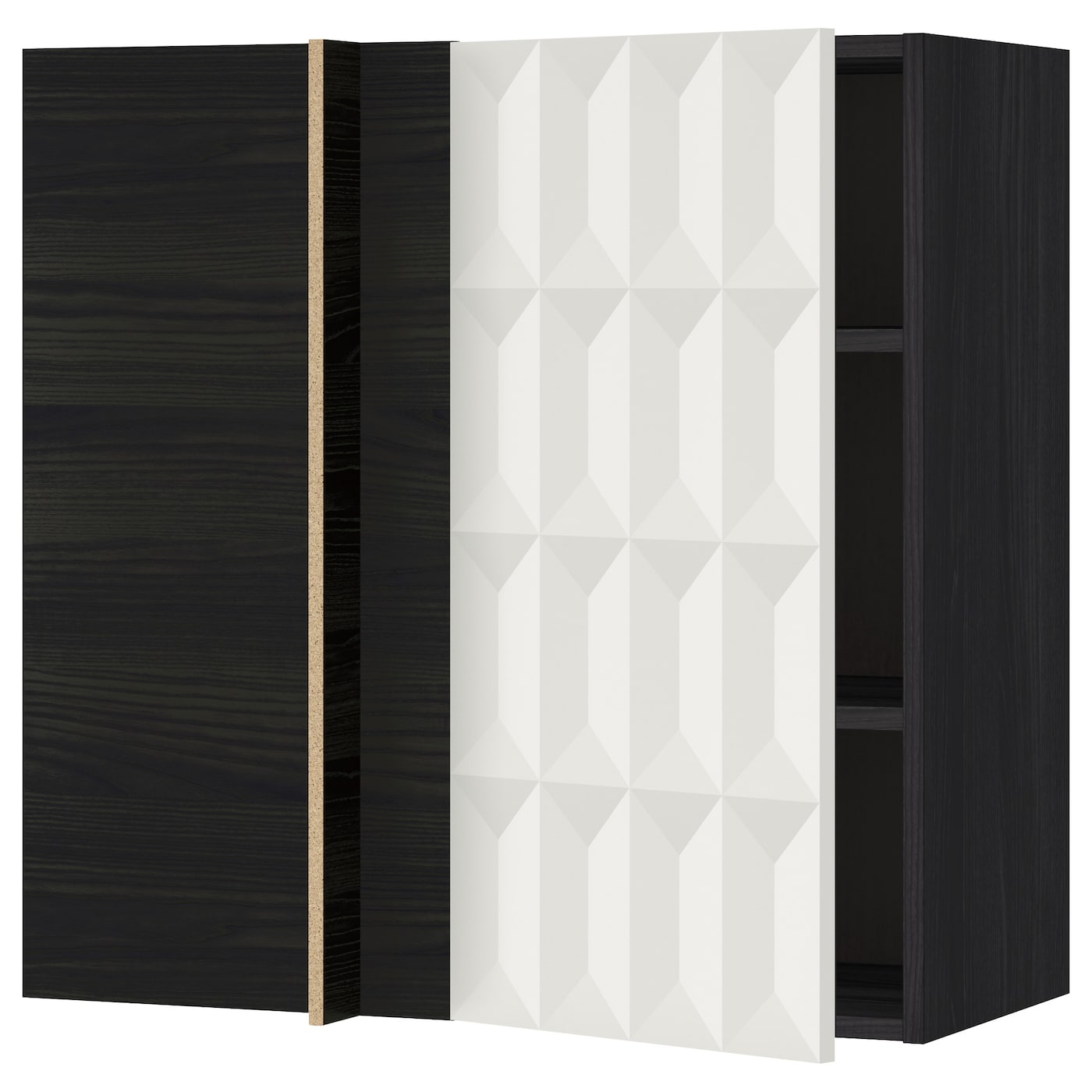 Metod Corner Wall Cabinet With Shelves Black Herrestad