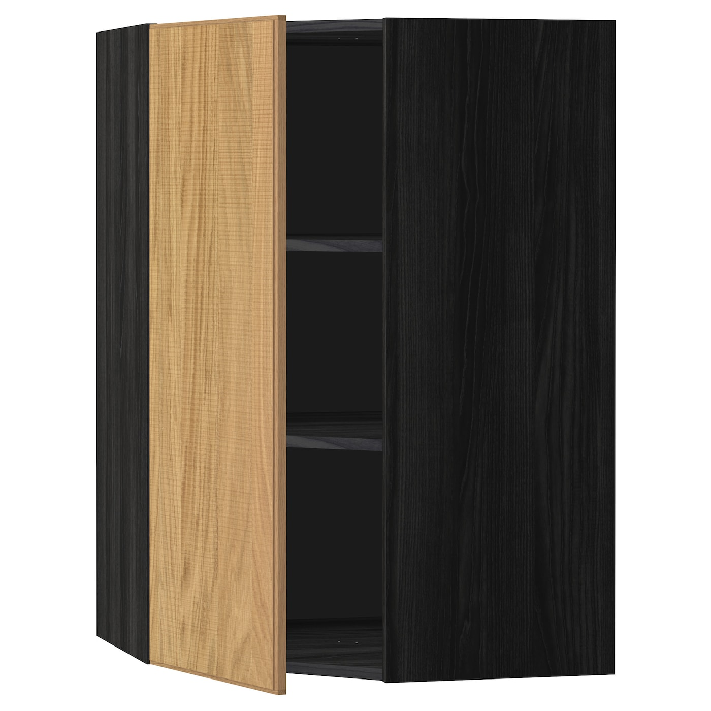 Metod Corner Wall Cabinet With Shelves Black Hyttan Oak