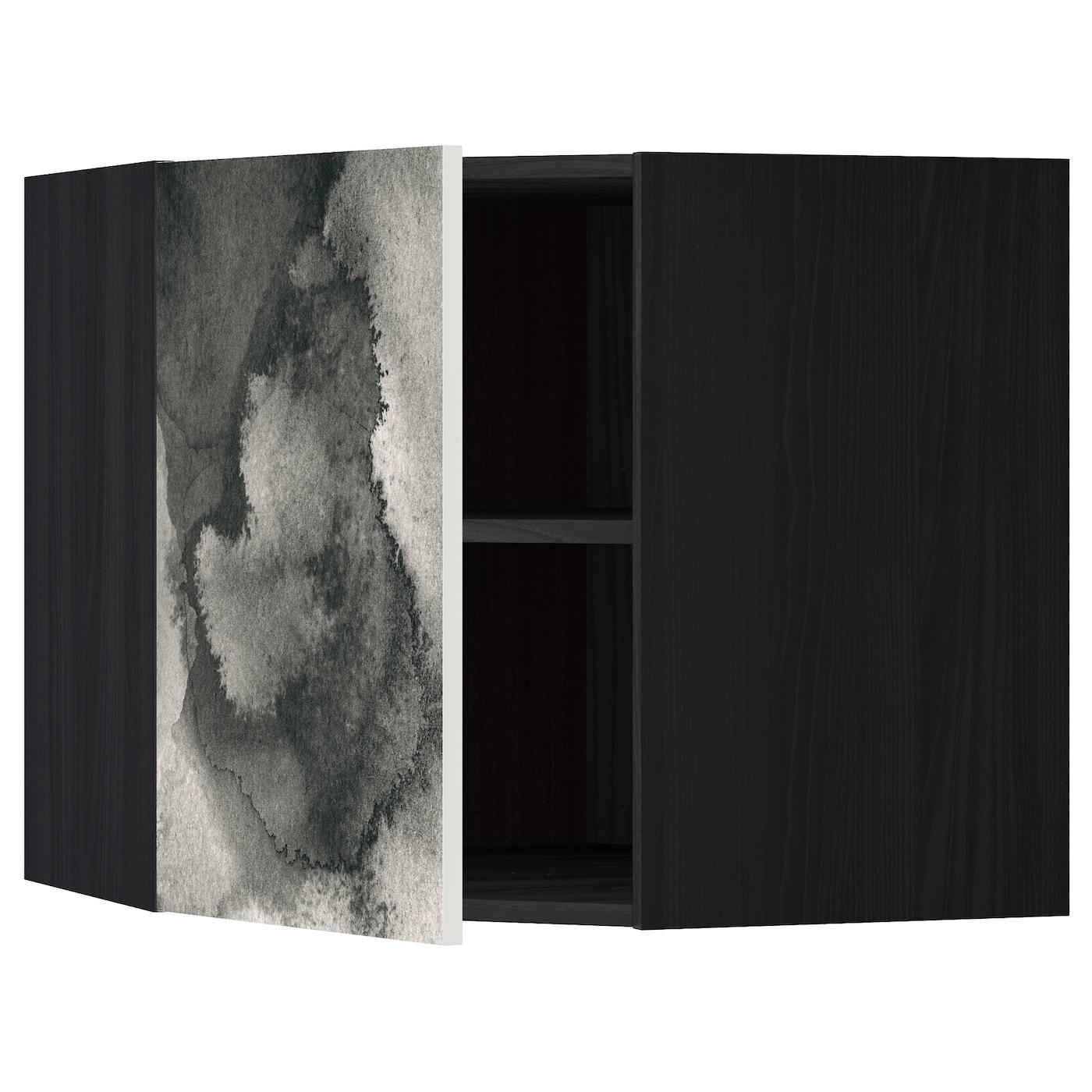 Metod Corner Wall Cabinet With Shelves Black Kalvia