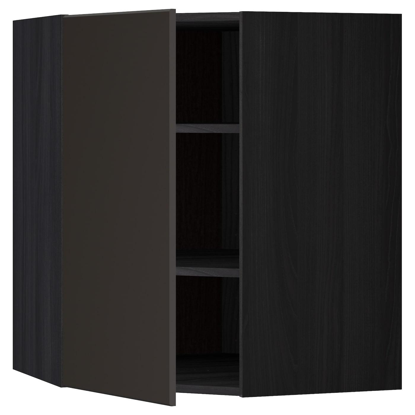 Metod Corner Wall Cabinet With Shelves Black Kungsbacka
