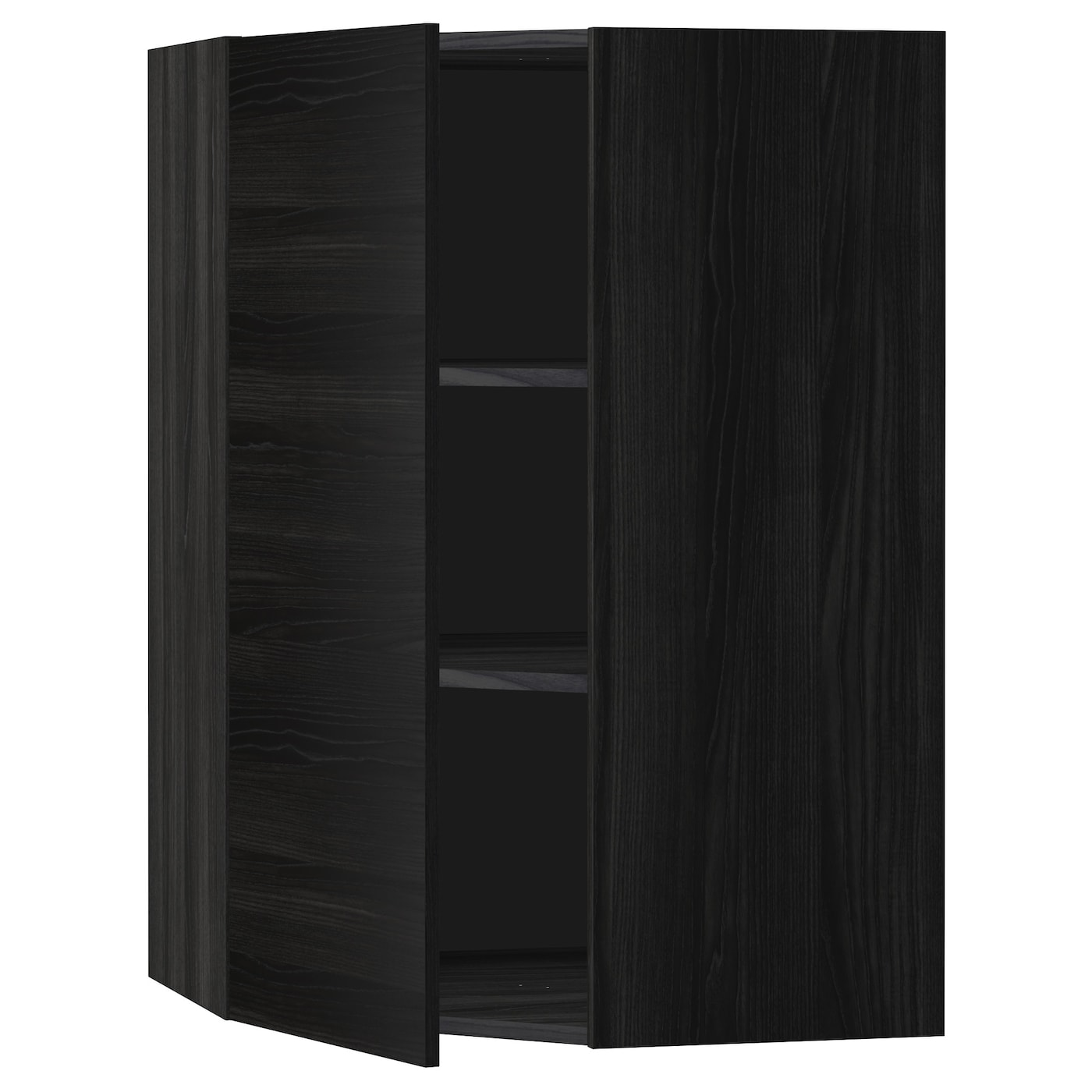 Metod Corner Wall Cabinet With Shelves Black Tingsryd