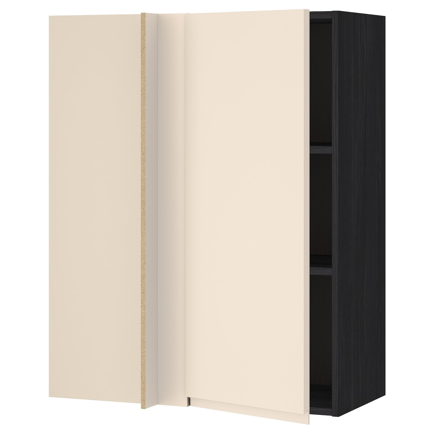 Metod Wall Cabinet With Shelves: METOD Corner Wall Cabinet With Shelves Black/voxtorp Light