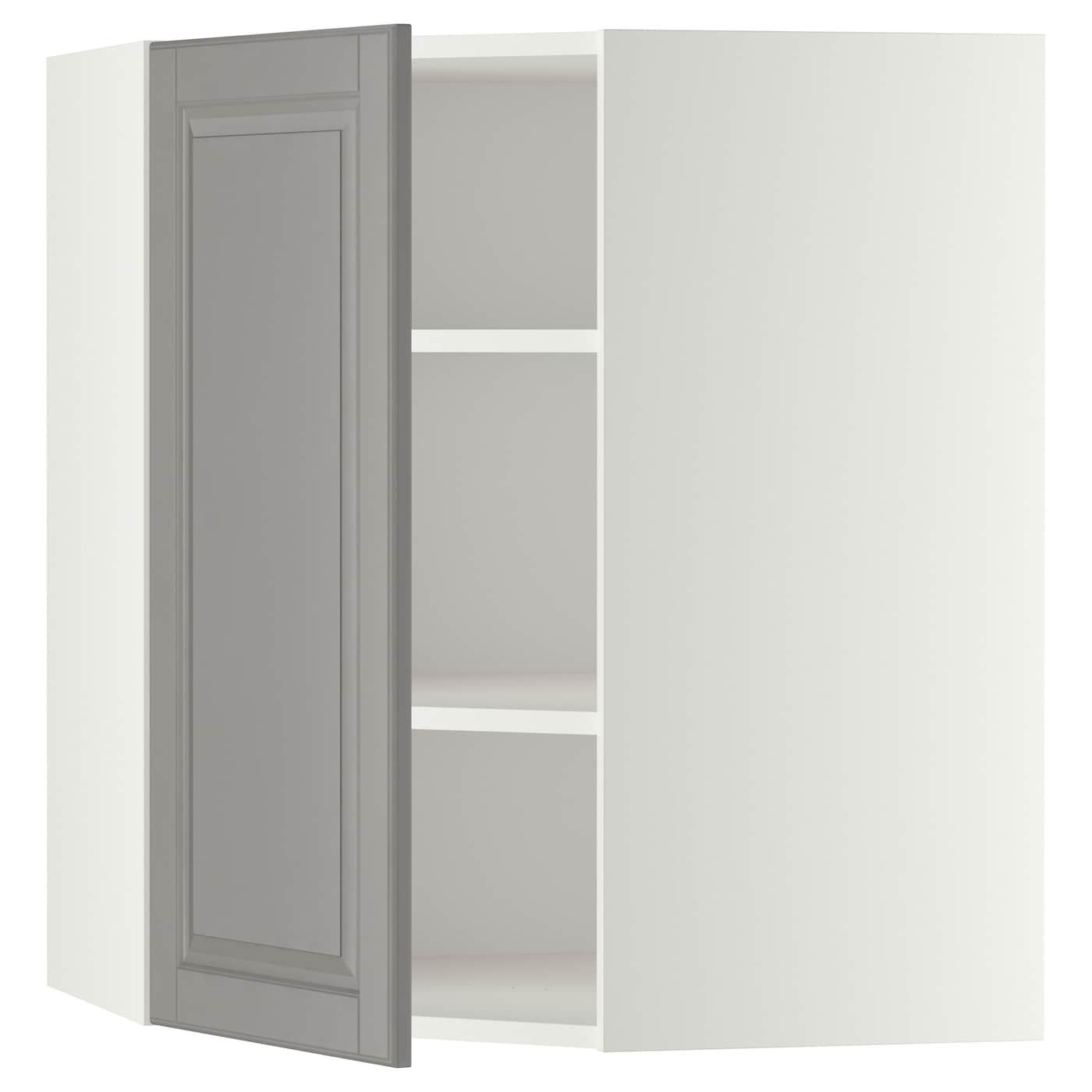 Metod corner wall cabinet with shelves white bodbyn grey for Corner cabinets ikea