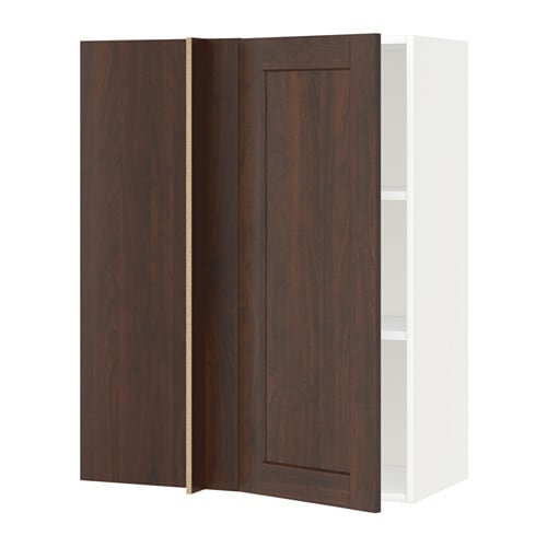 metod corner wall cabinet with shelves white edserum brown