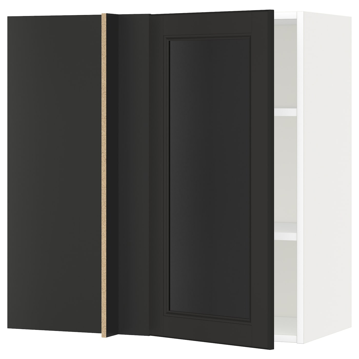 Metod Corner Wall Cabinet With Shelves White Laxarby Black