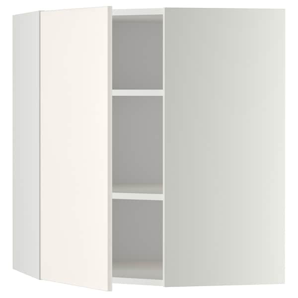 METOD Corner wall cabinet with shelves, white/Veddinge white, 68x80 cm