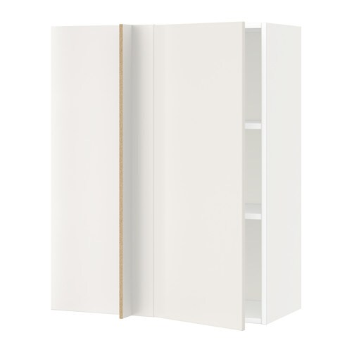 Metod Corner Wall Cabinet With Shelves Whiteveddinge White 88 X