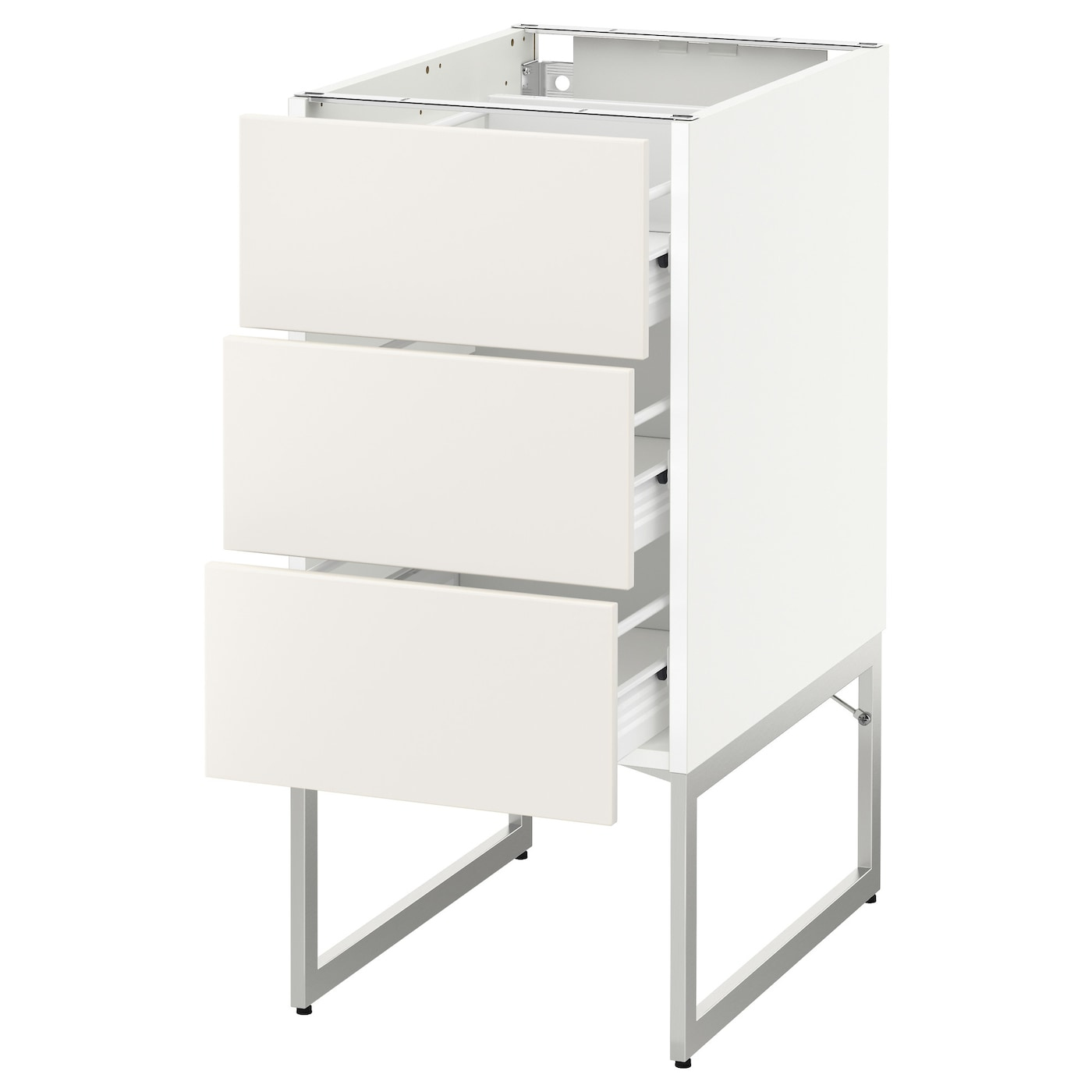 IKEA METOD/FÖRVARA base cab 3 fronts/3 medium drawers Sturdy frame construction, 18 mm thick.