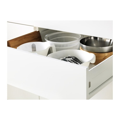 IKEA METOD/FÖRVARA base cab 4 fronts/2 low/2 md drwrs Smooth-running drawer with drawer stop.