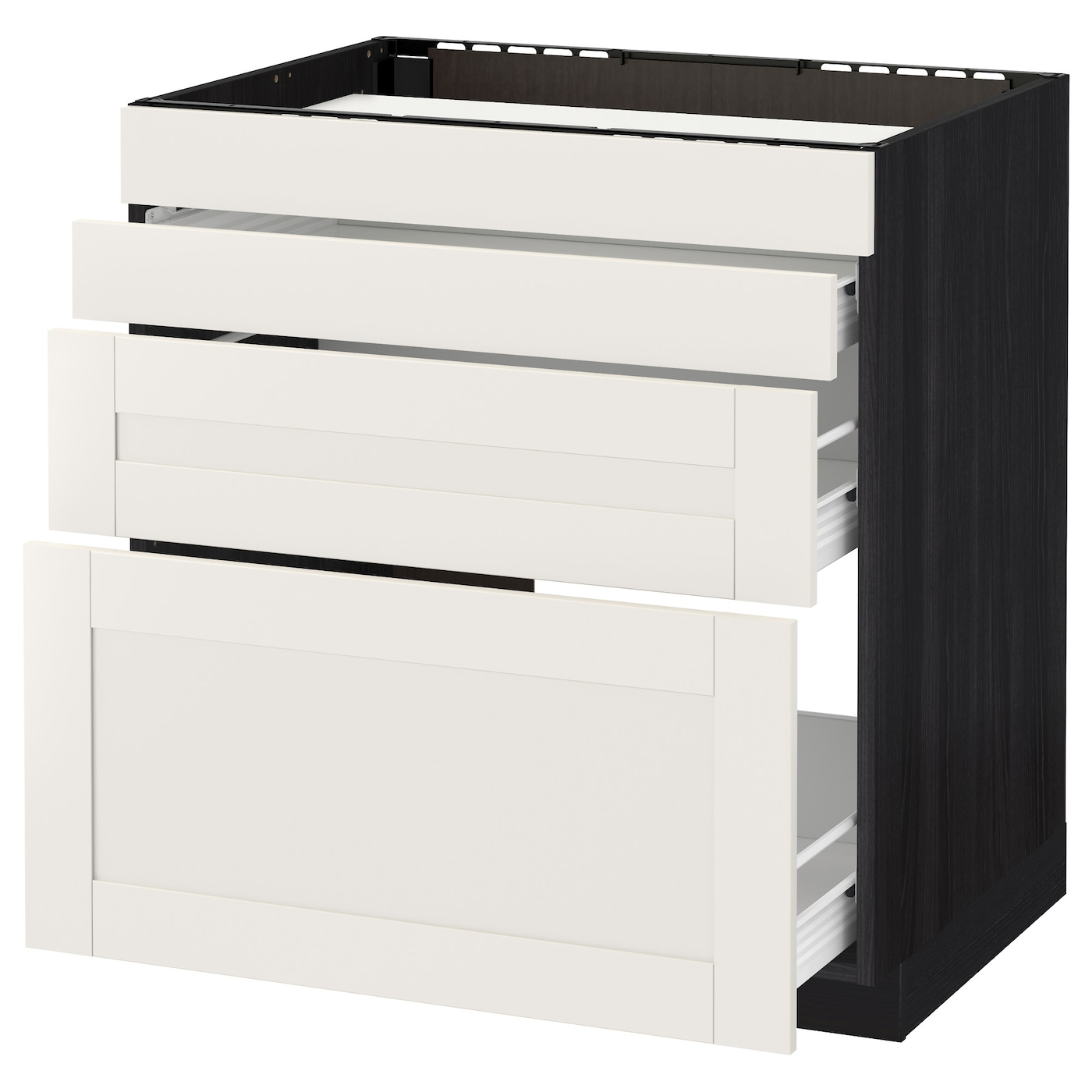 IKEA METOD/FÖRVARA base cab f hob/4 fronts/3 drawers Sturdy frame construction, 18 mm thick.