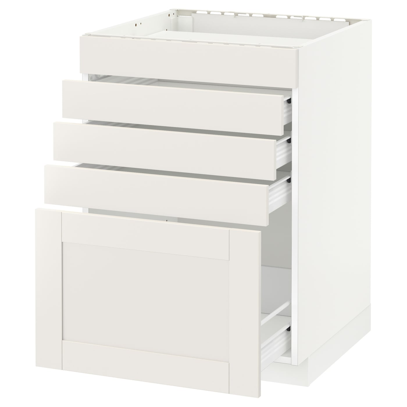 IKEA METOD/FÖRVARA base cab f hob/5 fronts/4 drawers Sturdy frame construction, 18 mm thick.