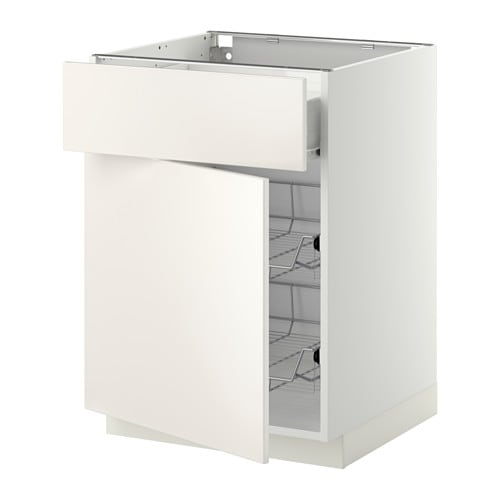 IKEA METOD/FÖRVARA base cab w wire basket/drawer/door Sturdy frame construction, 18 mm thick.