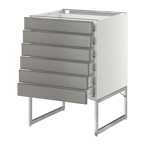 Kitchen Cabinet Drawer Fronts: METOD/FÖRVARA Base Cabinet 6 Fronts/6 Low Drawers White