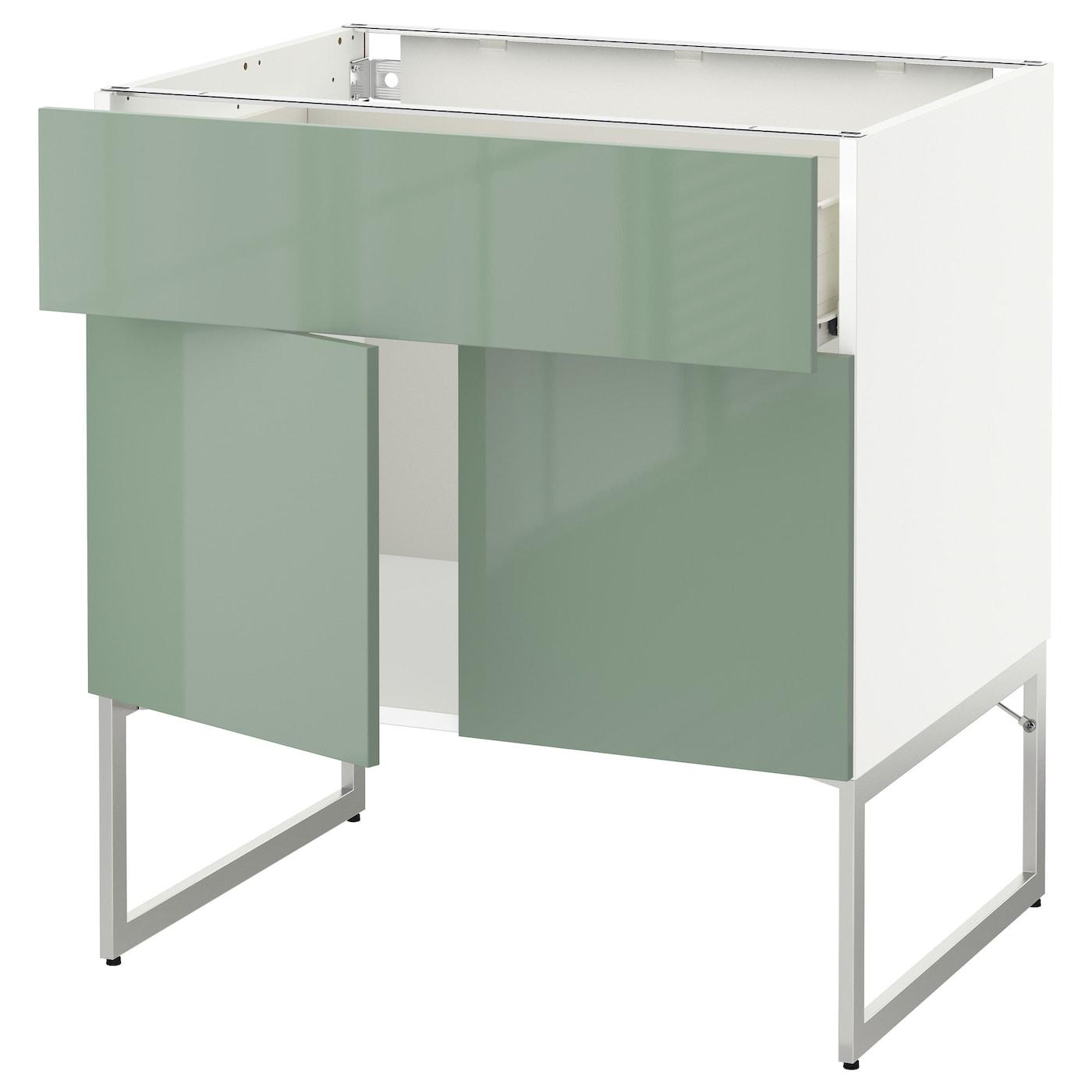 Ikea Green Kitchen Cabinets: METOD/FÖRVARA Base Cabinet/shelves/drawer/2 Doors White