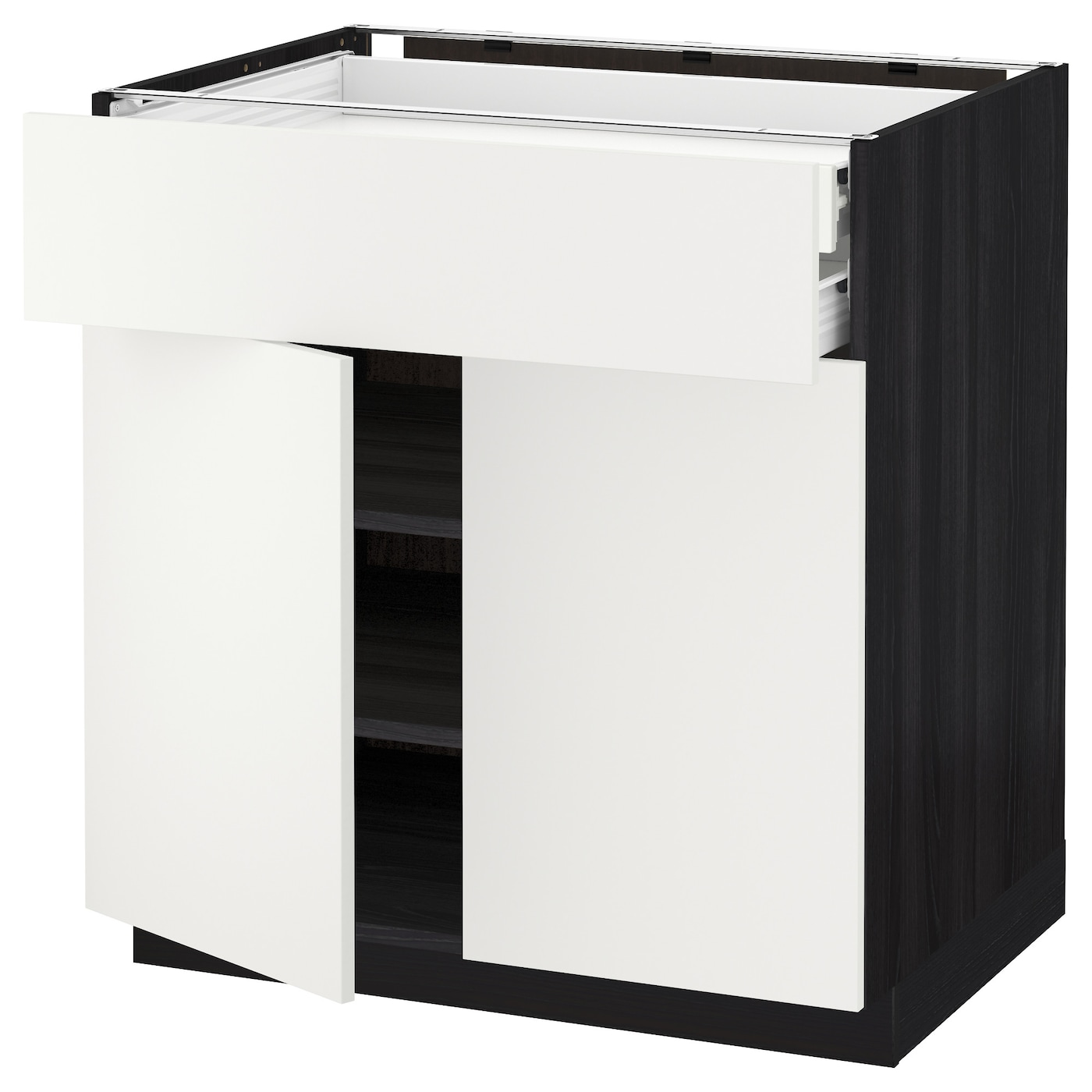 IKEA METOD/FÖRVARA base cabinet w 2 doors/2 drawers Sturdy frame construction, 18 mm thick.