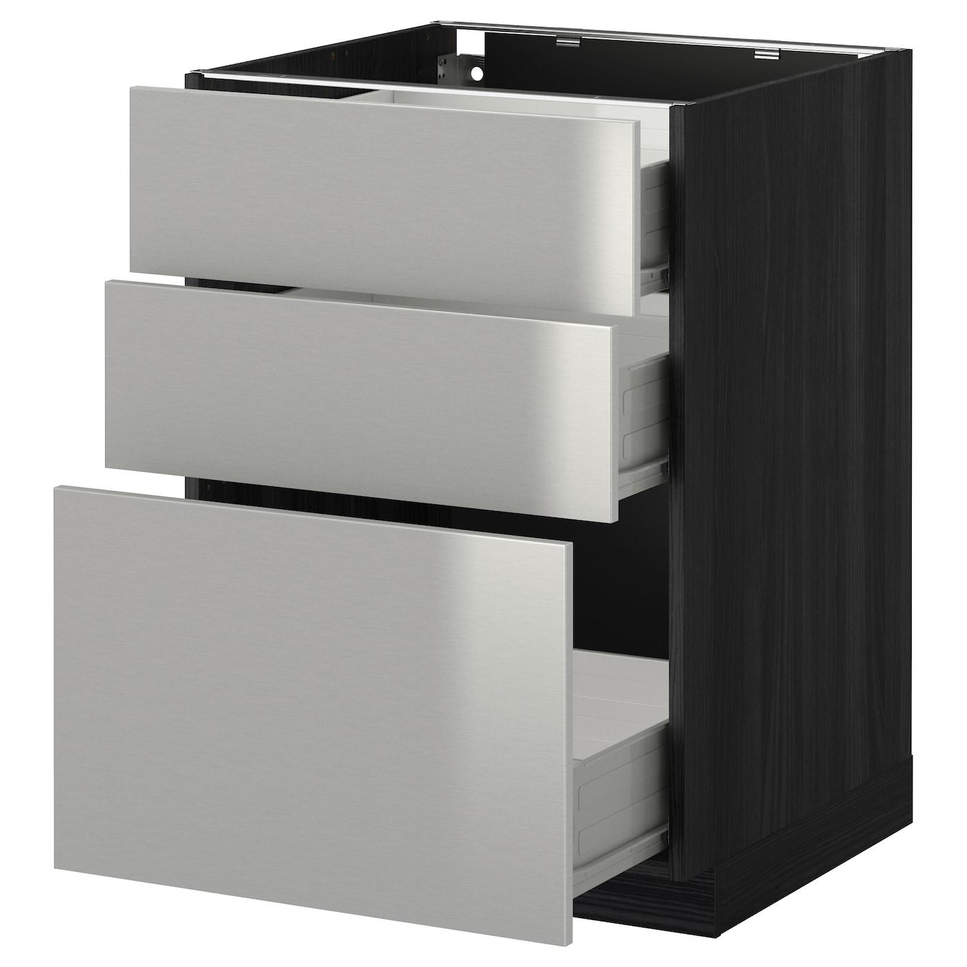 Steel Frame Kitchen Cabinets: METOD/FÖRVARA Base Cabinet With 3 Drawers Black/grevsta