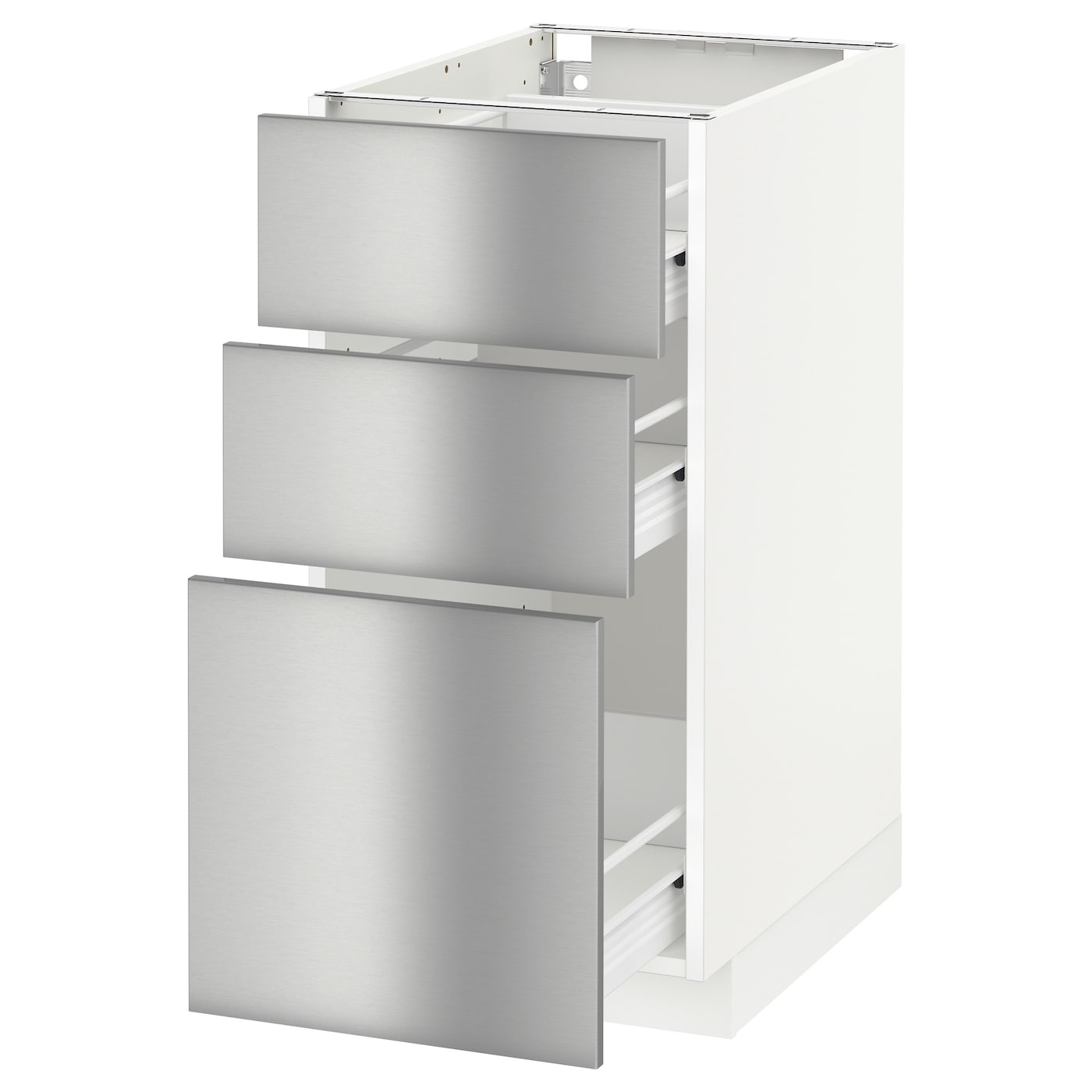 Kitchen White Cabinets Stainless: METOD/FÖRVARA Base Cabinet With 3 Drawers White/grevsta