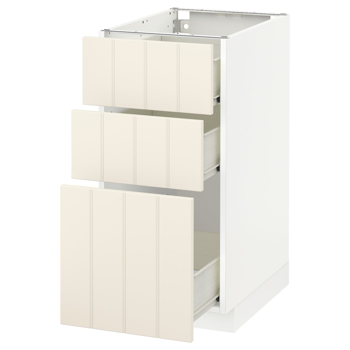 IKEA METOD/FÖRVARA base cabinet with 3 drawers Sturdy frame construction, 18 mm thick.