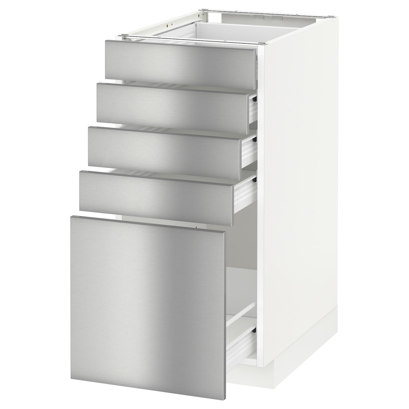 Metod f rvara base cabinet with 5 drawers white grevsta for Stainless steel kitchen base cabinets