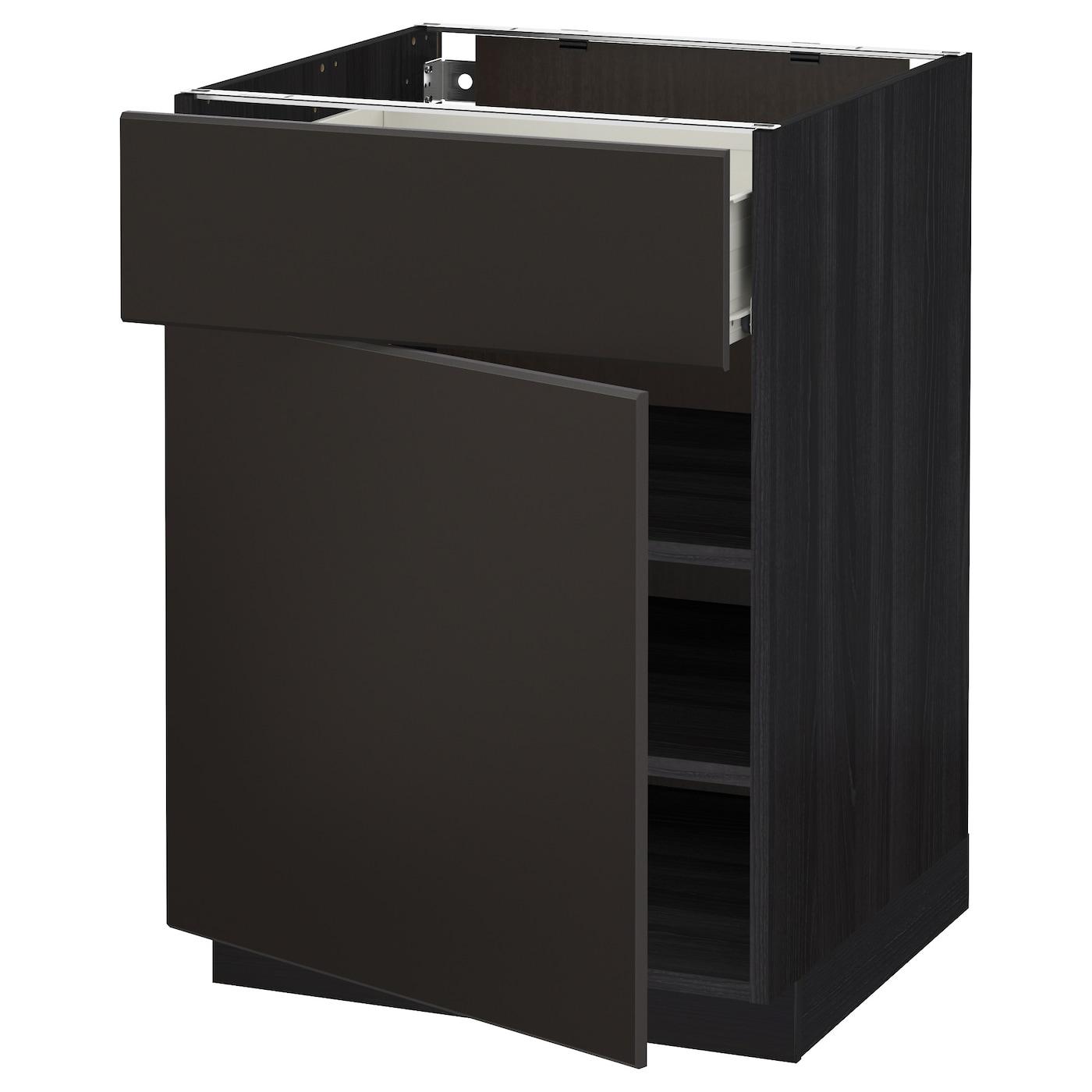 metod f rvara base cabinet with drawer door black kungsbacka anthracite 60x60 cm ikea. Black Bedroom Furniture Sets. Home Design Ideas