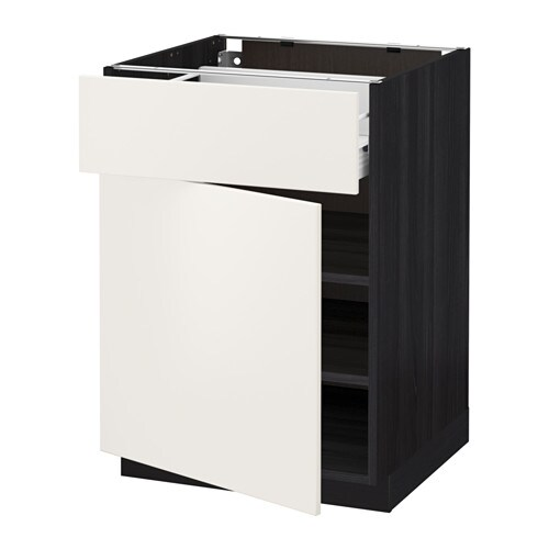 metod f rvara base cabinet with drawer door black veddinge white 60x60 cm ikea. Black Bedroom Furniture Sets. Home Design Ideas