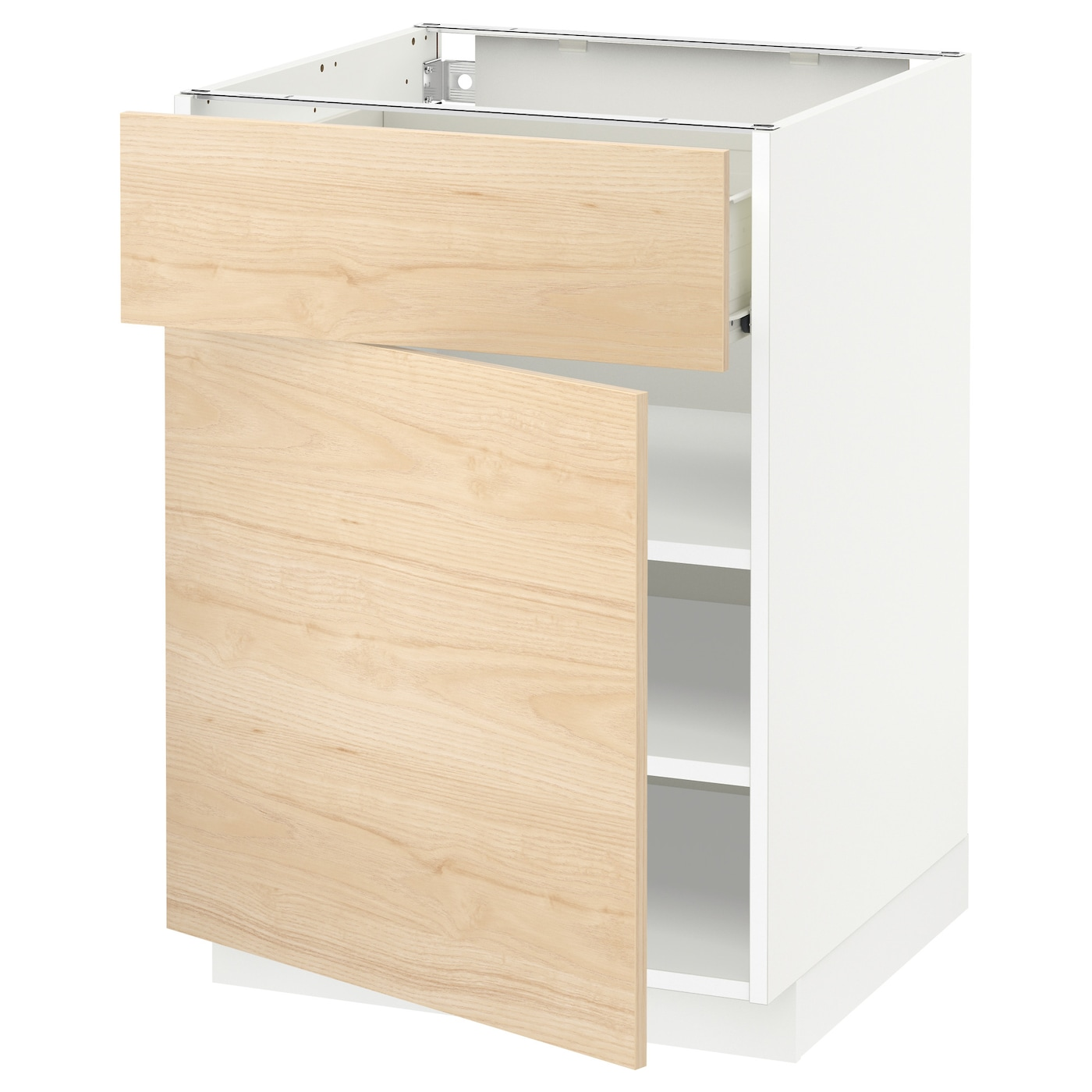 Metod f rvara base cabinet with drawer door white for Ash wood kitchen cabinets