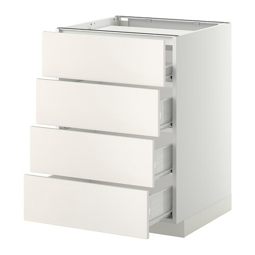 Metod f rvara base cab f hob 4 fronts 4 drawers white Meuble 60x60