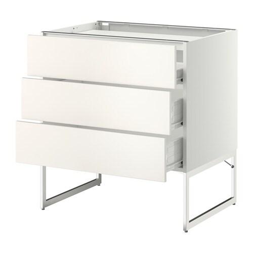 METOD / FÖRVARA Base cab f hob/3 fronts/3 drawers , white, Veddinge white Width: 80 cm Depth: 61.6 cm Frame, depth: 60 cm Frame, height: 60 cm