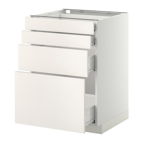 METOD / FÖRVARA Base cab 4 fronts/2 low/2 md drwrs IKEA Smooth-running drawer with drawer stop.  Sturdy frame construction, 18 mm thick.