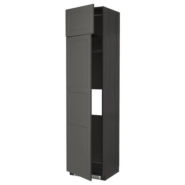 METOD Hi cab f fridge or freezer w 2 drs, black/Axstad dark grey, 60x60x240 cm