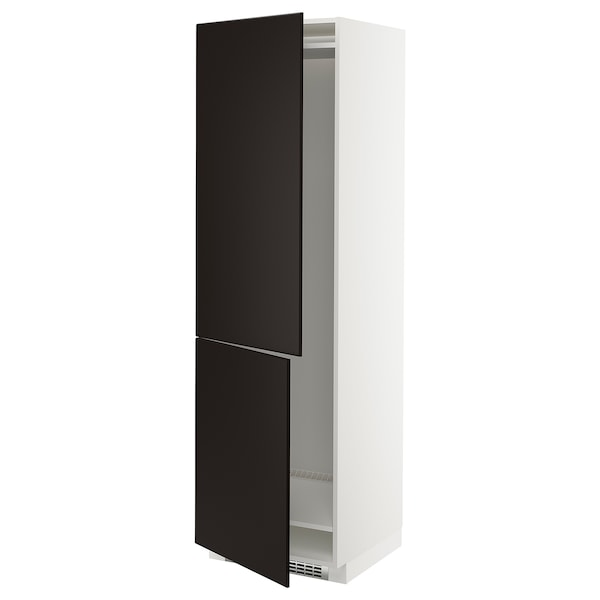 METOD Hi cab f fridge or freezer w 2 drs, white/Kungsbacka anthracite, 60x60x200 cm