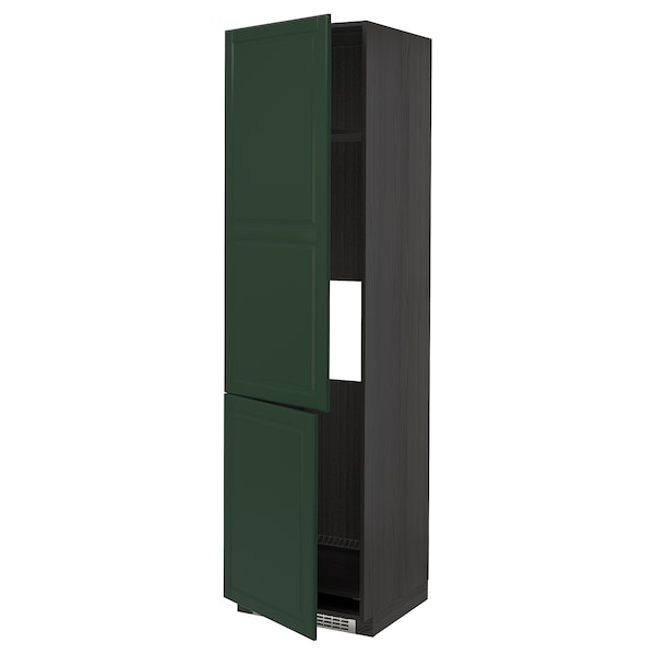 METOD High cab f fridge/freezer w 2 doors, black/Bodbyn dark green, 60x60x220 cm
