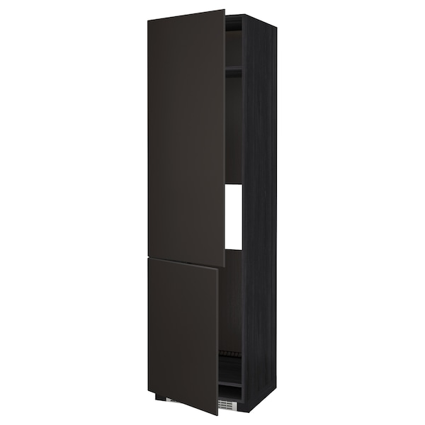 METOD High cab f fridge/freezer w 2 doors, black/Kungsbacka anthracite, 60x60x220 cm