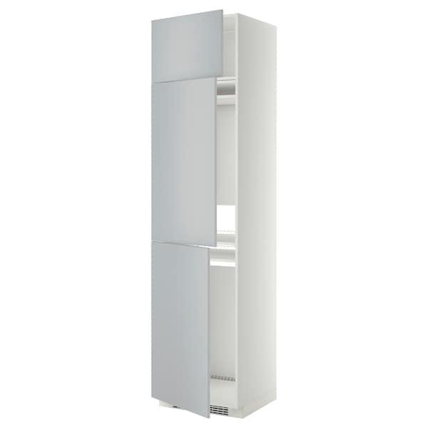 METOD High cab f fridge/freezer w 3 doors, white/Veddinge grey, 60x60x240 cm