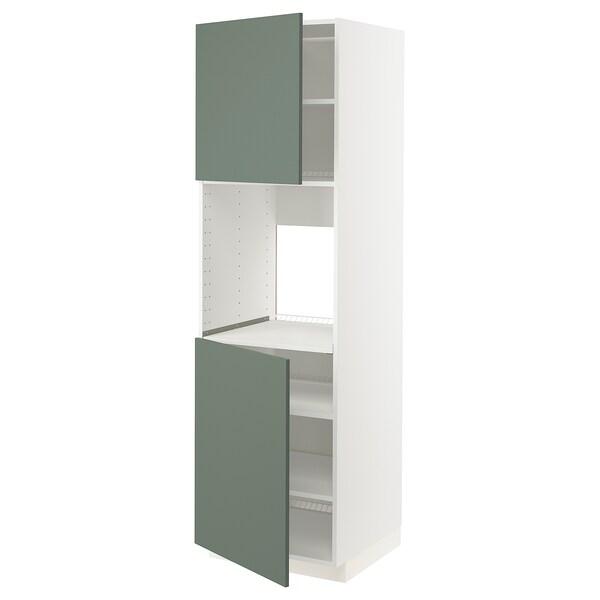 METOD High cab f oven w 2 doors/shelves, white/Bodarp grey-green, 60x60x200 cm