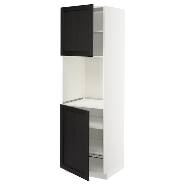 METOD High cab f oven w 2 doors/shelves, white/Lerhyttan black stained, 60x60x200 cm
