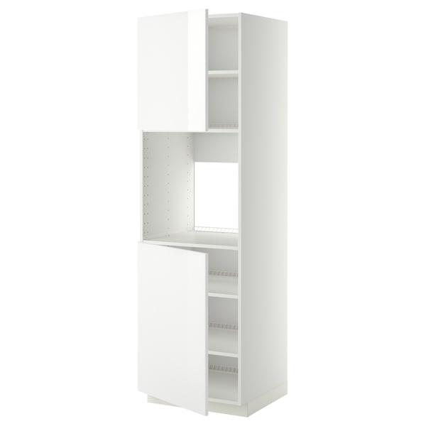 METOD High cab f oven w 2 doors/shelves, white/Ringhult white, 60x60x200 cm