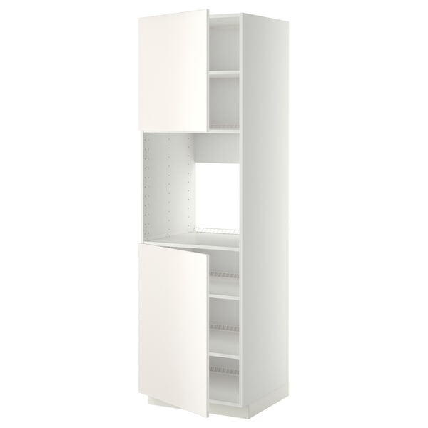 METOD High cab f oven w 2 doors/shelves, white/Veddinge white, 60x60x200 cm