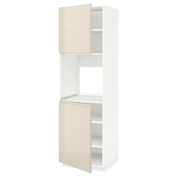 METOD High cab f oven w 2 doors/shelves, white/Voxtorp high-gloss light beige, 60x60x200 cm